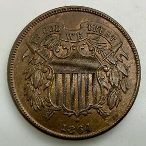 Click now to see the BUY IT NOW Price! 1864 LARGE MOTTO  TWO CENTS PLEASING LUSTROUS COIN SOME RED DIE BREAK REVERSE
