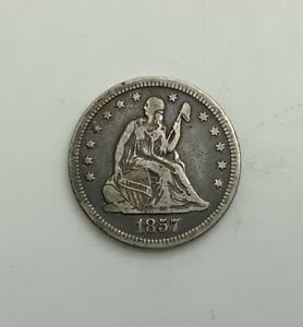 Click now to see the BUY IT NOW Price! 1857 SEATED LIBERTY  QUARTER DOLLAR 25 CENTS PLEASING ORIGINAL MID GRADE GREY