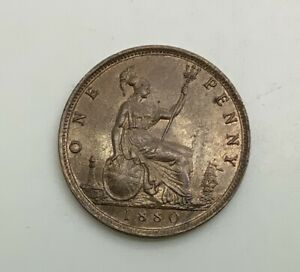Click now to see the BUY IT NOW Price! 1880 PENNY VICTORIA LUSTROUS BROWN NICE COIN  LUSTRE DIE CRACK & DIE CLASH NICE