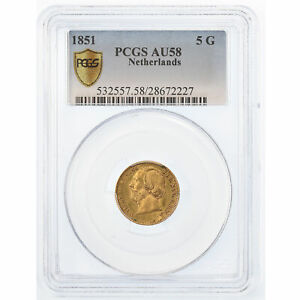 Click now to see the BUY IT NOW Price! [489680] COIN NETHERLANDS WILLIAM III 5 GULDEN 1851 PCGS AU58 GOLD