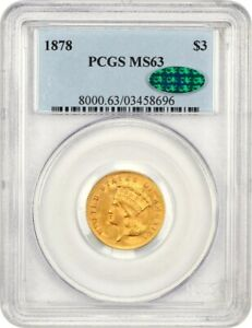 1878 $3 PCGS/CAC MS63   POPULAR GOLD TYPE COIN   3 PRINCESS GOLD COIN