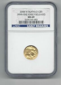 2008 W GOLD $5 BUFFALO NGC MS69 EARLY RELEASES