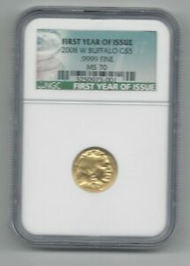 2008 W GOLD $5 BUFFALO NGC MS70 FIRST YEAR OF ISSUE