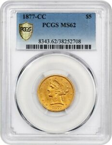 Click now to see the BUY IT NOW Price! 1877 CC $5 PCGS MS62   TIED FOR FINEST KNOWN    LIBERTY HALF EAGLE   GOLD COIN