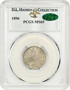 Click now to see the BUY IT NOW Price! 1896 5C PCGS/CAC MS65 EX: D.L. HANSEN   LIBERTY V NICKEL