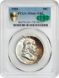 Click now to see the BUY IT NOW Price! 1959 50C PCGS/CAC MS66  FBL   FRANKLIN HALF DOLLAR   SATINY GEM