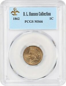 Click now to see the BUY IT NOW Price! 1862 1C PCGS MS66 EX: D.L. HANSEN   POPULAR COPPER NICKEL CENT   INDIAN CENT