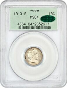Click now to see the BUY IT NOW Price! 1913 S 10C PCGS/CAC MS64  OGH    OLD GREEN LABEL HOLDER   BARBER DIME