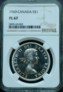 Click now to see the BUY IT NOW Price! :1960 S$1 DOLLAR ELIZABETH II LOW POP CANADA KM 54 NGC PL 67 HIGHEST GRADES