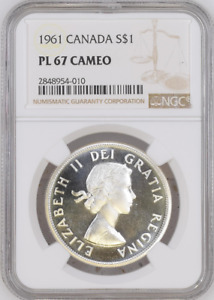 Click now to see the BUY IT NOW Price! :1961 S1$ DOLLAR ELIZABETH II CANADA KM54 LOW POP NGC PL 67 CAMEO HIGH GRADES