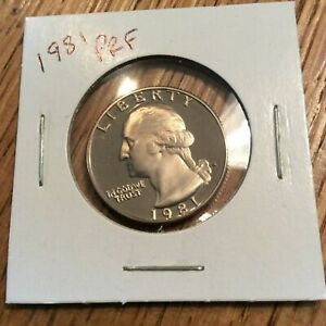 1981 WASHINGTON QUARTER CLAD PROOF FROM COMPLETE US PROOF SET