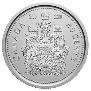2020 CANADA 50 CENT COAT OF ARMS LOGO     BU FINISH FROM ROLL