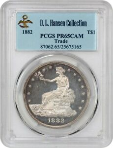 1882 TRADE$ PCGS PR 65 CAM EX: D.L. HANSEN    PROOF ONLY TRADE DOLLAR
