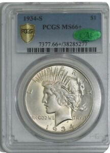 Click now to see the BUY IT NOW Price! 1934 S PEACE DOLLAR $ FINEST KNOWN MS66  SECURE PLUS PCGS   CAC 942549 1
