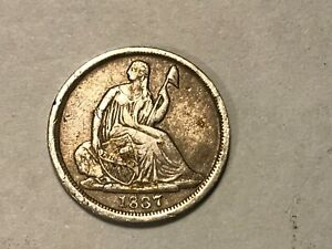 1837 US SEATED LIBERTY SILVER HALF DIME  FIRST YEAR ISSUE  NO STARS