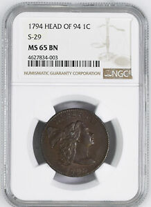 Click now to see the BUY IT NOW Price! 1794 FLOWING HAIR LARGE 1C NGC MS 65 BN