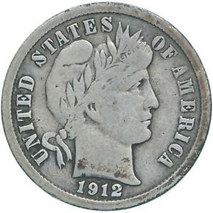 1912 BARBER DIME 90  SILVER GOOD VG