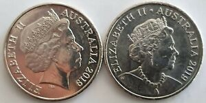 SET OF 2 AUSTRALIA 2019 TWENTY CENTS COINS: FIFTH AND SIXTH EFFIGY