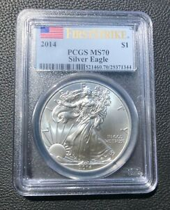 2014 US MINT SILVER EAGLE $1 MS70 FIRST STRIKE PCGS SLABBED