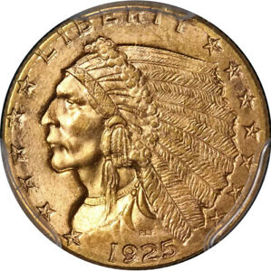 1925 D INDIAN GOLD EAGLE $2.50 PCGS MS63  STRONG STRIKE