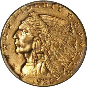 1925 D INDIAN GOLD $2.50 PCGS MS63.  GREAT CLARITY  EYE APPEAL  STRONG STRIKE