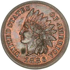 1886 INDIAN HEAD CENT TYPE 1 UNCIRCULATED PENNY US COIN