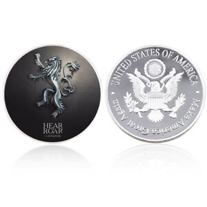 NEW STYLE GAME OF THRONES US METAL COIN SILVER CHALLENGE COINS FOR COLLECTION