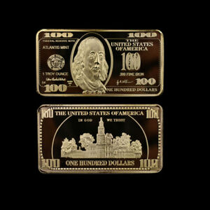 SOUVENIR GOLD BAR PLATED METAL CRAFTS USD 100 CREATIVE BARS WORTH COLLECTION