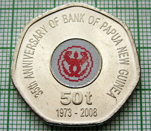 PAPUA NEW GUINEA 2008 50 TOEA 35TH ANNIV OF THE BANK COLOURED 7 SIDED UNC