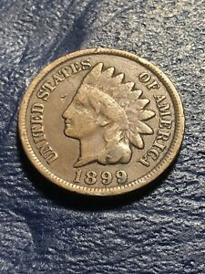 1899 INDIAN HEAD CENT NICE LOOKING COIN PARTIAL LIBERTY GOOD RIMS.
