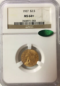 1927 INDIAN HEAD $2.50 GOLD QUARTER EAGLE NGC MS 64   CAC   STUNNING INDIAN HEAD