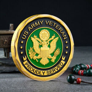ARMY COLLETION COMMEMORATIVE CHALLENGE COIN AMERICAN MILITARY COLLECTIBLE GOLD
