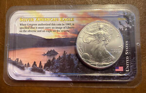 2001 AMERICAN SILVER EAGLE DOLLAR FINE SILVER UNC IN LITTLETON COIN SEALED PACK.