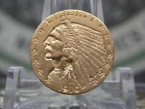 1910 $2.5 GOLD INDIAN QUARTER EAGLE 1 EAST COAST COIN & COLLECTABLES INC.