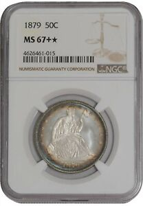 Click now to see the BUY IT NOW Price! 1879 SEATED LIBERTY HALF 50C MS67   COLOR NGC 938538 1