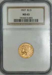 1927 $2 1/2 GOLD INDIAN MS63 NGC 943356 4
