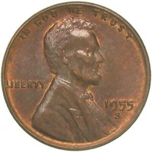 1955 S LINCOLN WHEAT CENT ABOUT UNCIRCULATED PENNY AU