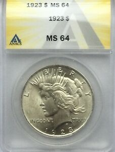 Click now to see the BUY IT NOW Price! 1925 PHILADELPHIA PEACE  DOLLAR PLEASING ANACS  GRADED  MS64 NICE COIN
