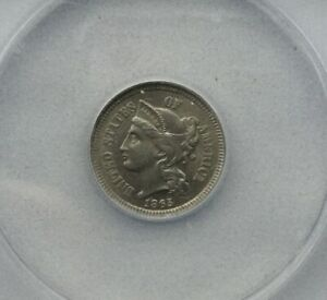 Click now to see the BUY IT NOW Price! 1865  MS62  ANACS 3 CENT NICKEL LUSTROUS MINT STATE TYPE COIN DIE CLASHES