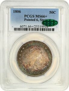 Click now to see the BUY IT NOW Price! 1806 50C PCGS/CAC MS66   POINTED 6 STEMS  GREAT TYPE COIN   BUST HALF DOLLAR