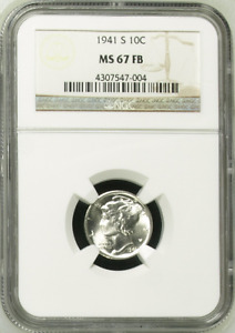 :1941 S S1OC WINGED HEAD OR MERCURY DIME NGC MS 67 FB FULL BANDS HIGHEST GRADES
