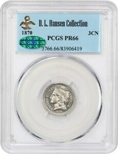 Click now to see the BUY IT NOW Price! 1870 3CN PCGS/CAC PR 66 EX: D.L. HANSEN   PRETTY GEM PROOF   3 CENT NICKEL