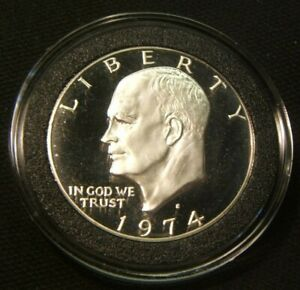 1974 S    EISENHOWER SILVER DOLLAR   FROM BRN BOX   BEAUTIFUL PROOF IN AIRTITE