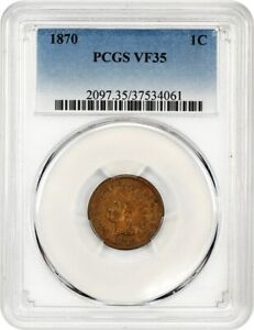 1870 1C PCGS VF35    DATE   INDIAN CENT    DATE
