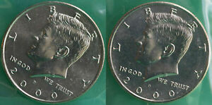 C09 2000 P AND D KENNEDY HALF DOLLAR COIN US MINT SET 2 BU CELLO FIFTY CENT UNC