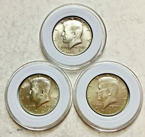 LOT OF  3  KENNEDY HALVES 1966 40  SILVER ALL UNC. YOU JUDGE