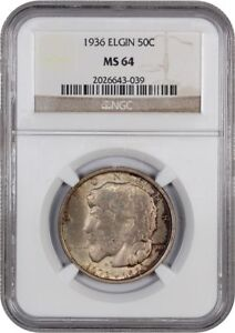 1936 ELGIN 50C NGC MS64   SILVER CLASSIC COMMEMORATIVE