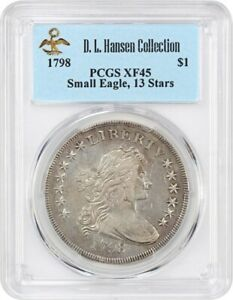 Click now to see the BUY IT NOW Price! 1798 SMALL EAGLE $1 PCGS XF45  13 STARS OBVERSE  EX: D.L. HANSEN   CHOICE XF