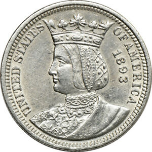 1893 ISABELLA QUARTER ABOUT UNCIRCULATED 25C C00051975