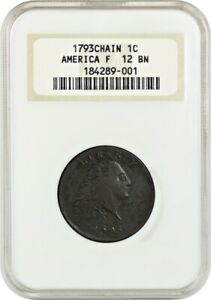 1793 CHAIN 1C NGC F12 BN  AMERICA  FLOWING HAIR LARGE CENTS  1793 1796